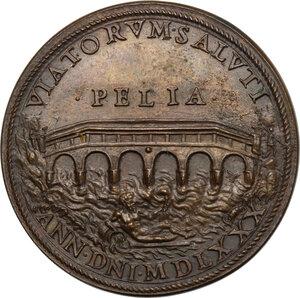 reverse: Gregorio XIII (1572-1585), Ugo Boncompagni.. Medaglia 1580 per la costruzione del Ponte Gregoriano sul fiume Paglia