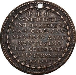 reverse: Urbano VIII (1623-1644) Maffeo Barberini.. Medaglia A. XVII, per il primo centenario della fondazione Compagnia di Gesú