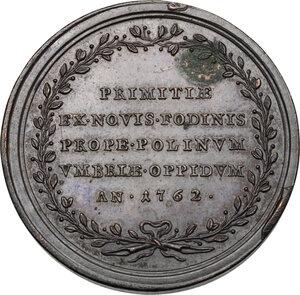 reverse: Clemente XIII (1758-1769), Carlo Rezzonico. Medaglia A. III, per la scoperta dei giacimenti di ferro e argento a Polino Castello