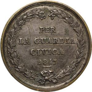 reverse: Pio IX  (1846-1878), Giovanni Mastai Ferretti.. Medaglia fusa per la Guardia Civica, 1847