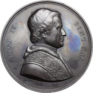 obverse: Pio IX  (1846-1878), Giovanni Mastai Ferretti. Medaglia A. XII, 1857, per la stazione ferroviaria di Civitavecchia