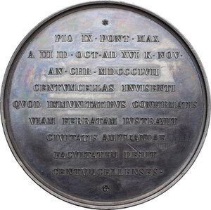 reverse: Pio IX  (1846-1878), Giovanni Mastai Ferretti. Medaglia A. XII, 1857, per la stazione ferroviaria di Civitavecchia
