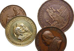 reverse: Pio IX  (1846-1878), Giovanni Mastai Ferretti. Lotto di quattro medaglie, una in argento