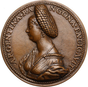 obverse: Argentina Pallavicini (m.1550), poetessa e botanica, moglie di Guido Rangoni, signore di Spilamberto.. Medaglia celebrativa, prima metà del XVI secolo