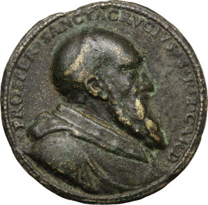 obverse: Prospero Publicola Santacroce (1514-1589), cardinale.. Medaglia 1579