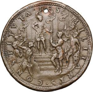 reverse: Cosimo II de  Medici (1608-1620).. Medaglia per la creazione dellla Milizia Toscana