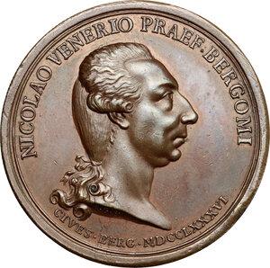 obverse: Bergamo.  Nicolò Venier (1743-  ) Capitano di Bergamo e la moglie Eleonora Bentivoglio. Medaglia 1786
