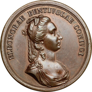 reverse: Bergamo.  Nicolò Venier (1743-  ) Capitano di Bergamo e la moglie Eleonora Bentivoglio. Medaglia 1786