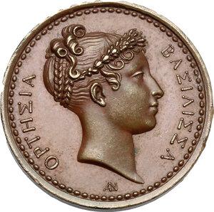 obverse: Hortense Eugénie Cécile Bonaparte (1783-1837), regina d Olanda.. Medaglia per la visita alla zecca (1808)