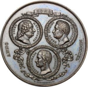 obverse: Medaglia celebrativa 1840 con i volti di Metastasio, Viscontio e Pinellio in corona d alloro