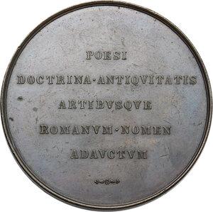 reverse: Medaglia celebrativa 1840 con i volti di Metastasio, Viscontio e Pinellio in corona d alloro