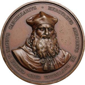 obverse: Mercurino Arborio di Gattinara (1465-1530), Cardinale e Gran Cancelliere di Carlo V. . Medaglia 1845