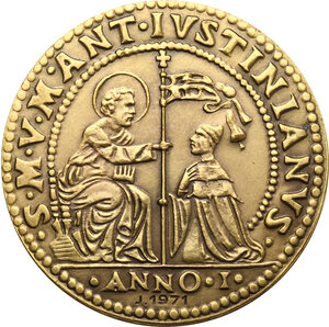 obverse: Marcantonio Giustinian (1684-1688). Riproduzione dell Osella anno I, 1684. Coniazione speciale Johnson, 1971