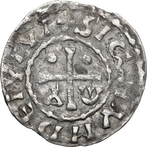 reverse: France.  Herbert I Éveille-Chien (1014/5-1032/5).. Denier, Maine (comté)
