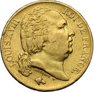 obverse: France.  Louis XVIII (1814-1824).. 20 Francs 1819 A, Paris mint