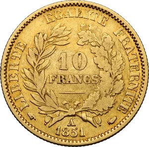 reverse: France.  Second Republic (1848-1852).. 10 Francs 1851 A, Paris mint