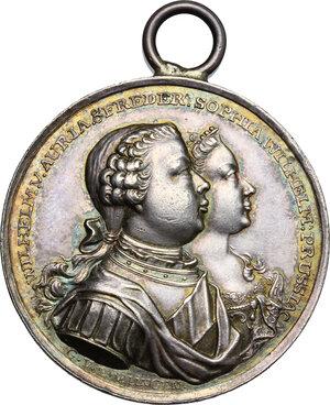 obverse: Germany, Brandenburg-Preussen.  Friedrich II (1740-1786).. Celebrative medal 1767 for the wedding among Friederike Sophia Wilhelmine (sister of Friedrich Wilhelm III) and William of Orange