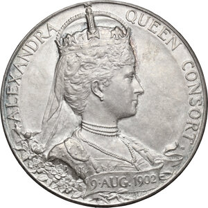reverse: Great Britain.  Edward VII, with Alexandra (1901-1910). Medal 1902 for Coronation