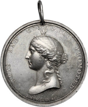 obverse: Great Britain.  Royal Society for the Encouragement of Arts, Manufactures and Commerce. Prize medal awarded to Miss F. Bunell, 1829