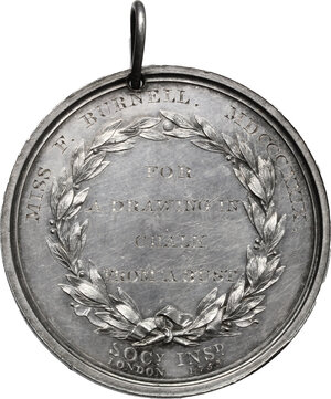 reverse: Great Britain.  Royal Society for the Encouragement of Arts, Manufactures and Commerce. Prize medal awarded to Miss F. Bunell, 1829