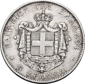 reverse: Greece.  George I of Greece (1863-1913). 5 Drachmai 1876 A