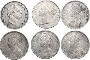 obverse: India.  Victoria (1837-1901).. Multiple lot of six (6) coins: One Rupee 1835 ((William IV), 1840, 1862, 1890, 1891 and 1892