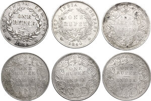 reverse: India.  Victoria (1837-1901).. Multiple lot of six (6) coins: One Rupee 1835 ((William IV), 1840, 1862, 1890, 1891 and 1892