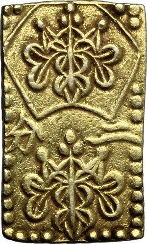 obverse: Japan.  Edo Period (1603-1868). Nibu Ban Kin  (2 Bu size  gold), 1856-1960. 20 x 12 mm