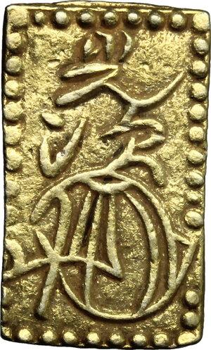 reverse: Japan.  Edo Period (1603-1868). Nibu Ban Kin  (2 Bu size  gold), 1856-1960. 20 x 12 mm