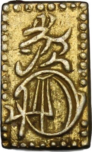 reverse: Japan.  Edo Period (1603-1868). Ni shu ban kin  (2 shu size  gold) small size, 1860-1969. 12 x 7 mm