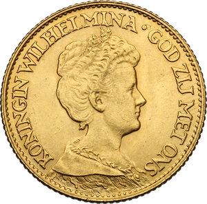 obverse: Netherlands.  Willhelmina (1890-1948).. 10 Gulden 1917