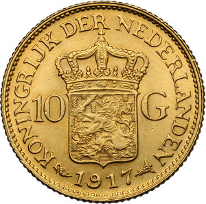 reverse: Netherlands.  Willhelmina (1890-1948).. 10 Gulden 1917