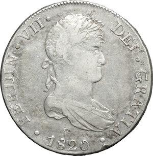 obverse: Peru .  Ferdinand VII (1808-1833). 8 reales 1820 J P, Lima mint