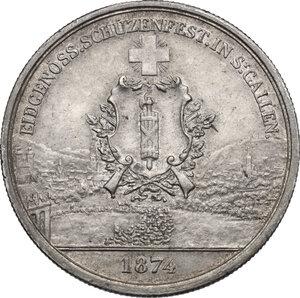obverse: Switzerland. 5 Francs Shooting Thaler 1874, San Gallo