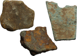 obverse: Aes premonetale. Aes Rude and Formatum. Multiple lot of three (3) heavy fragments