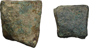 obverse: Aes Premonetale.. Aes Formatum. Multiple lot of two (2) fragments (one angular) of bronze ingots