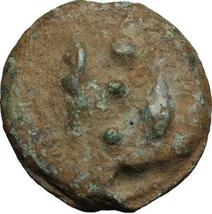 reverse: Dioscuri/Mercury series.. AE Cast Quadrans, c. 280 BC