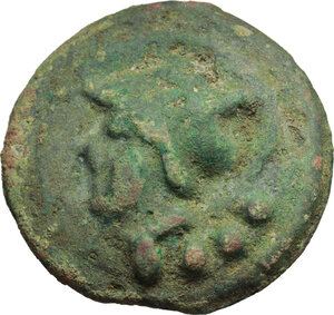 obverse: Janus/prow to right libral series.. AE Cast Triens, c. 225-217 BC