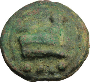 reverse: Janus/prow to right libral series.. AE Cast Triens, c. 225-217 BC