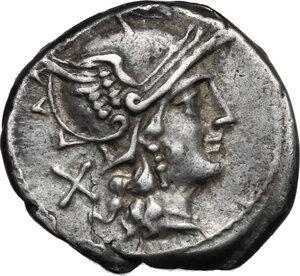 obverse: Matienus.. AR Denarius, 179-170 BC. Helmeted head of Roma right, behind, X