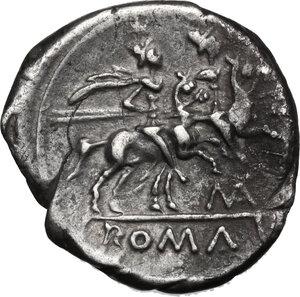 reverse: Matienus.. AR Denarius, 179-170 BC. Helmeted head of Roma right, behind, X