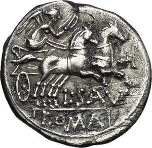 reverse: L. Saufeius.. AR Denarius, 152 BC