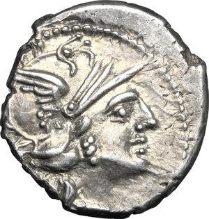 obverse: C. Valerius C.f. Flaccus.. AR Denarius, 140 BC