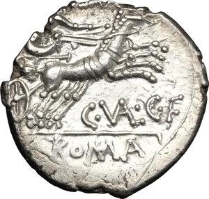 reverse: C. Valerius C.f. Flaccus.. AR Denarius, 140 BC