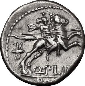 reverse: Q. Philippus.. AR Denarius, 129 BC