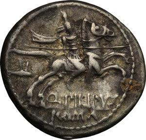 reverse: Q. Marcius Philippus.. AR Denarius, 129 BC