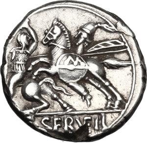 reverse: C. Servilius Vatia.. AR Denarius, 127 BC