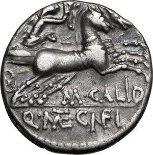 reverse: M. Calidius, Q. Metellus and Cn. Fulvius . AR Denarius, 117-116 BC
