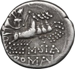 reverse: Q. Curtius.. AR Denarius, 116-115 BC