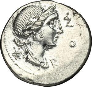 obverse: Mn. Aemilius Lepidus.. AR Denarius, 114-113 BC